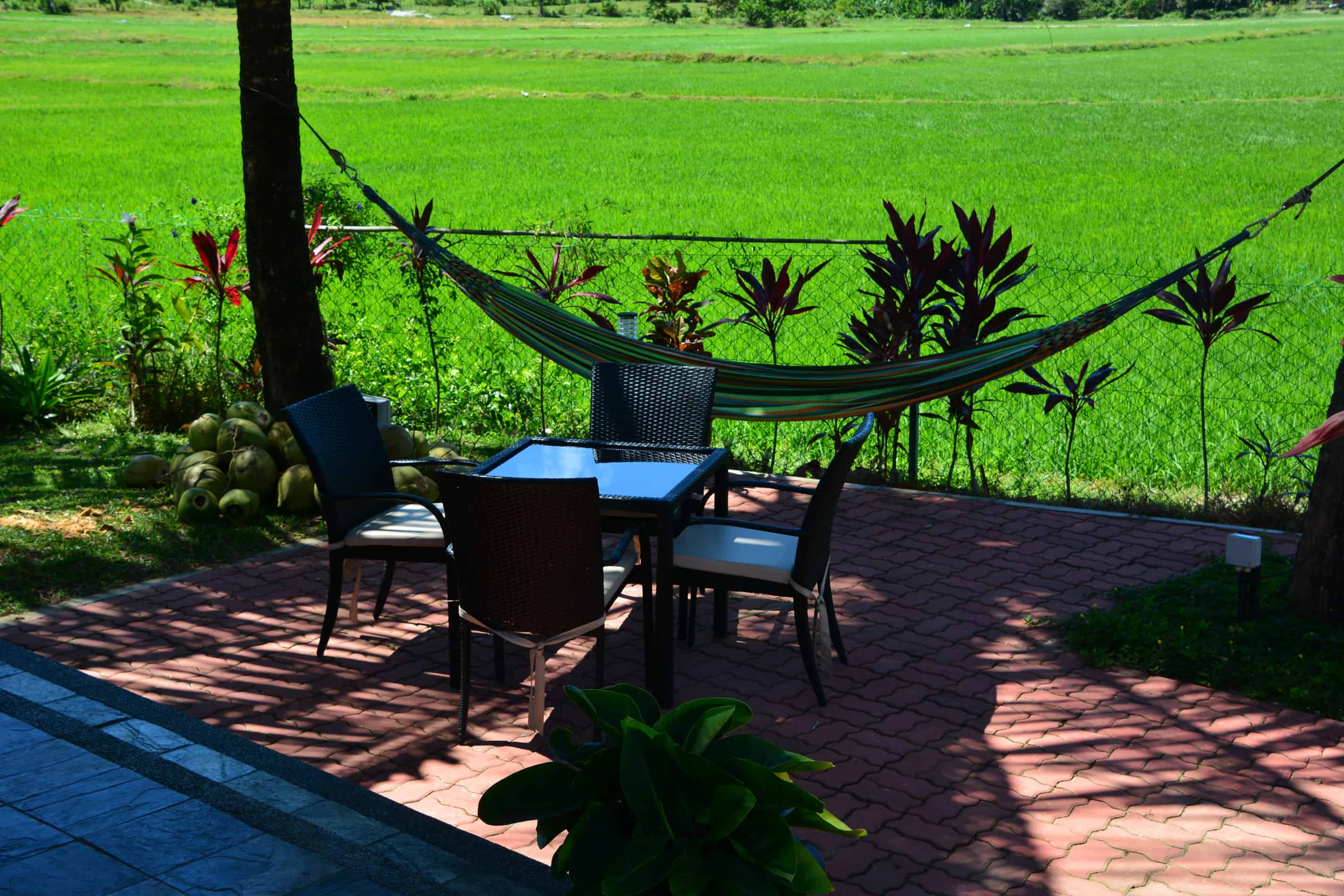 Sunset Valley - Dining area new pool and rice paddies